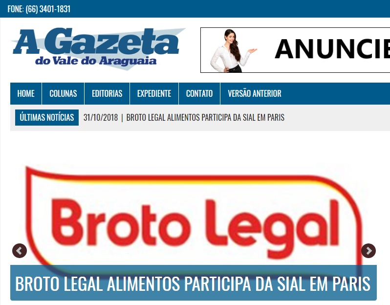 Broto Legal é destaque na Gazeta do Vale Araguaia