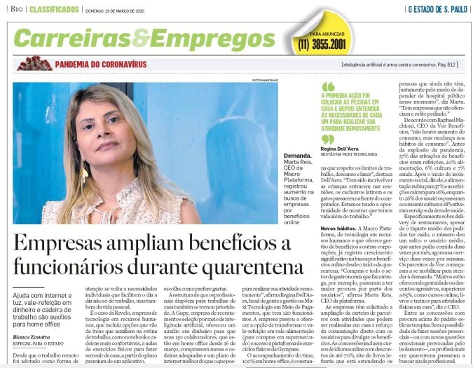 Macro Plataforma no jornal O Estado de S. Paulo
